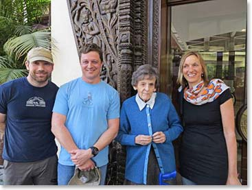 Steve Whittington, Daniel Branham, Elizabeth Hawley and Billi Bierling at the Yak and Yeti Hotel, Kathmandu, March 2013