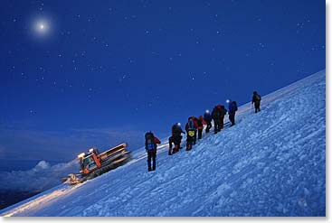 The full moon on Mount Elbrus summit day, Russia (Photo Credit: Vladimir Kopylov)
