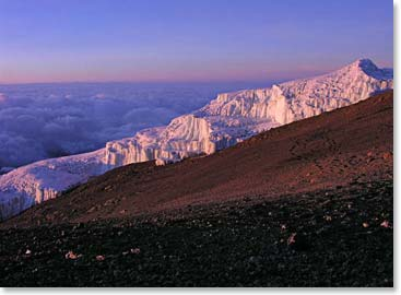 The first light of the day shines on the glaciers of Kilimanjaro