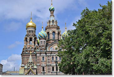 The stunning onion domes of the Church of Spilled Blood