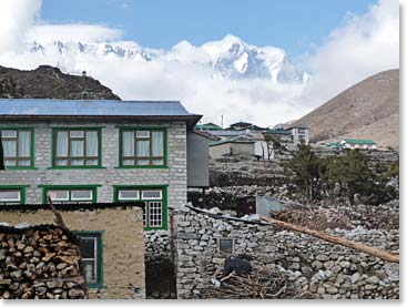 A classic Sherpa village surrounded by towering peaks