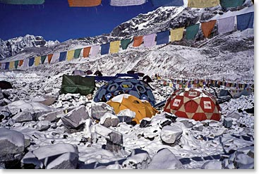 Colorful tents reflect the vibrant atmosphere of Everest Base Camp