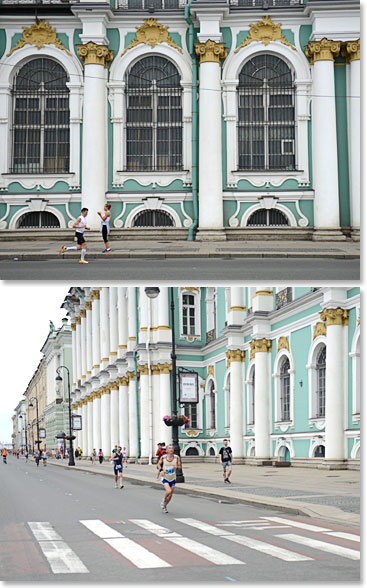 Running through the streets of St. Petersburg with The Hermitage and other iconic buildings in the background