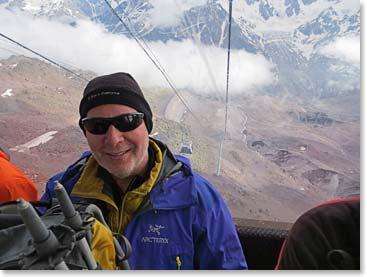 Acclimatizing in style – Tim enjoying a gondola ride
