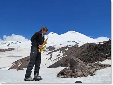 Our guide Vladimir pulled out his saxophone and serenaded us during the climb