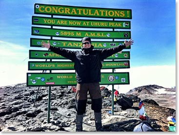 New summit sign on Kilimanjaro