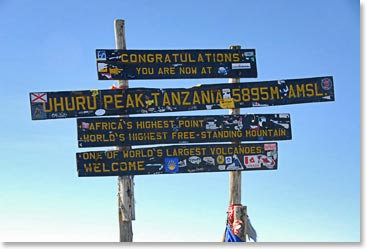Old summit sign on Kilimanjaro