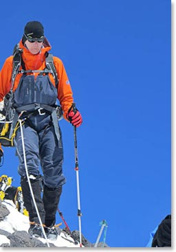 Terri descending from the summit of Mount Elbrus