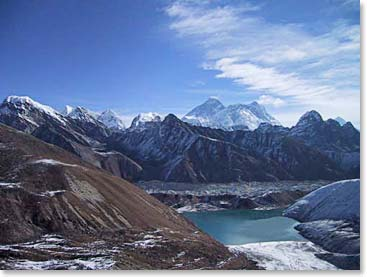 A beautiful view of Everest from Gokyo on our High Passes Trek