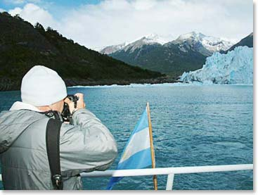 Wally capturing images of the glacier at Lago Grey