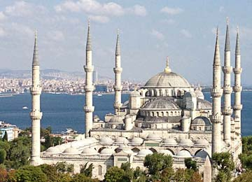 The Blue Mosque distinguished from other mosques by its six minarets.