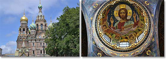Left: The stunning onion domes of the Church of Spilled Blood; Right: The beautiful ceiling of the Church of Spilled Blood