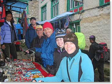 Cami and BAI Everest Base Camp Trekkers shopping in Namche