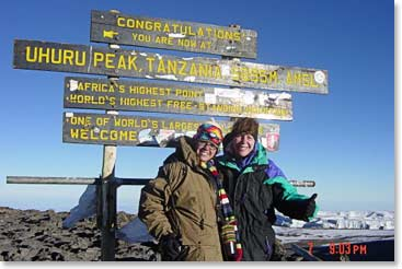 Cami on the summit of Kilimanjaro with her friend Brittany