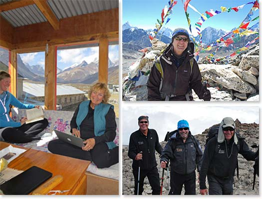 Left: Enjoying downtime at a lodge in Nepal; Upper right: Slow and steady is the key to success! Lower right: The effects of altitude don't prevent you from having fun!