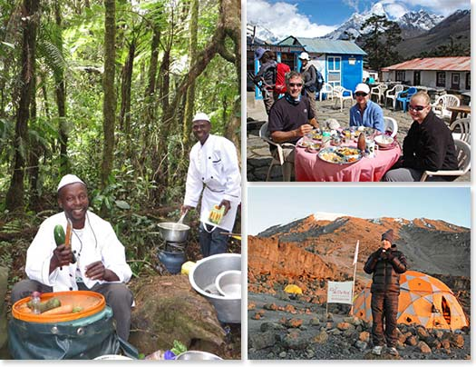 Left: Our skilled cooks making fresh food on Kilimanjaro; Upper right: A tea break on a sunny day on the way to Everest Base Camp; Lower right: Enjoying the sunrise with a hot beverage