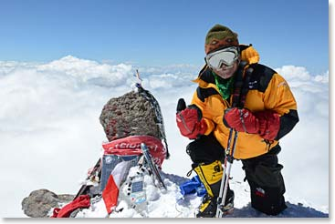 Bundled up at the summit of Mount Elbrus