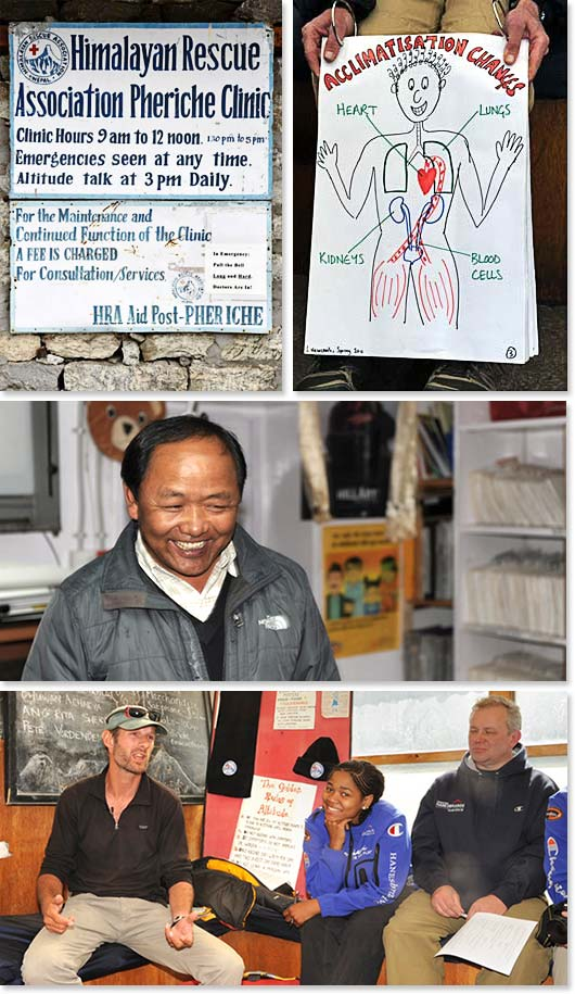 Top: The Himalayan Rescue Association (HRA) is an organization that sends doctors to the Everest region of Nepal each climbing and trekking season to assist with medical emergencies. They give an Altitude Trek for trekkers each afternoon at their clinic in Pheriche; Middle: Dr. Kami Sherpa operates one of the medical clinics in the Everest Region; Bottom: Attending a lecture about altitude at the Himalayan Rescue Association