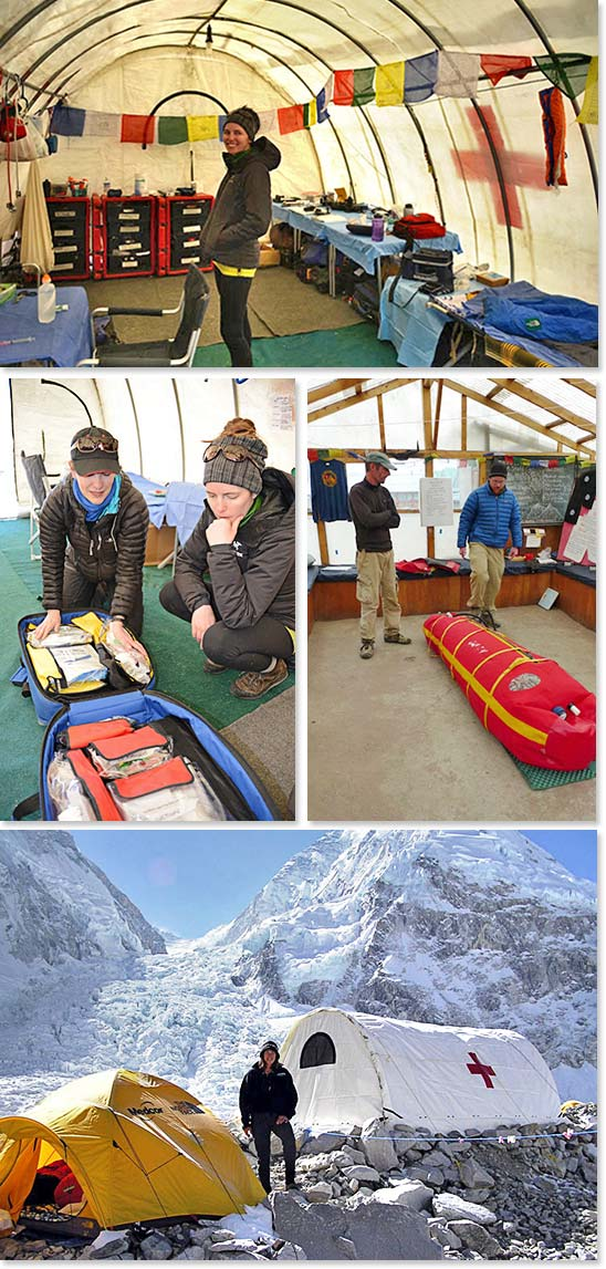 Top: Inside the Everest ER, a medical tent located at Everest Base Camp; Middle left: Examining an expedition medical kit; Middle right: An HRA doctor demonstrates the use of a Gammov Bag – essentially a portable hyperbaric chamber for serious cases of HAPE and HACE; Bottom: Dr. Luanne Freer of the Everest ER on a sunny day at Base Camp
