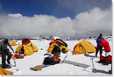 Airing out sleeping bags on Aconcagua