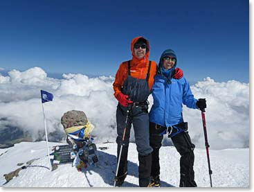 Terri and fellow climber Margaret on the summit of Mount Elbrus, July 2013