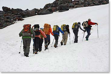 Terri and her 2013 Mount Elbrus team climbing to the summit