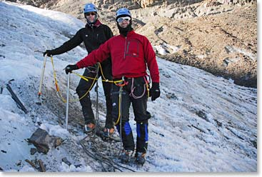 Terri and husband Tim challenge themselves in Bolivia by practicing glacier travel.