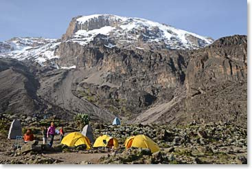 Barranco Camp on the Umbwe Circuit Route is one of the finest on the mountain.