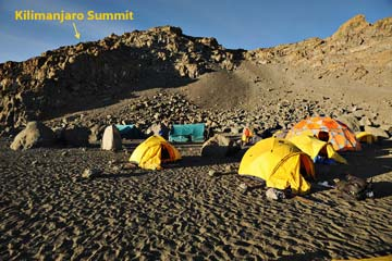Berg Adventures crater camp on the Lemosho Traverse