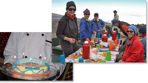 A scenic place for a lunch stop;  A cake baked on the mountain to celebrate a birthday.