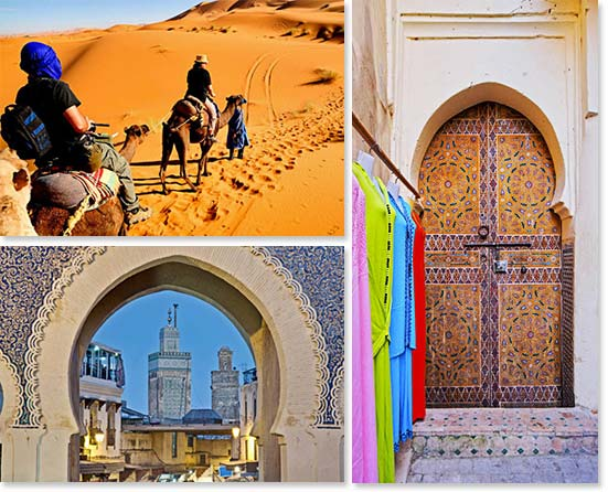 Upper left: Riding a camel through the dunes; Lower left: Looking through the Blue Gate in Fes; Right: A typical Moroccan door in the old city of Fes