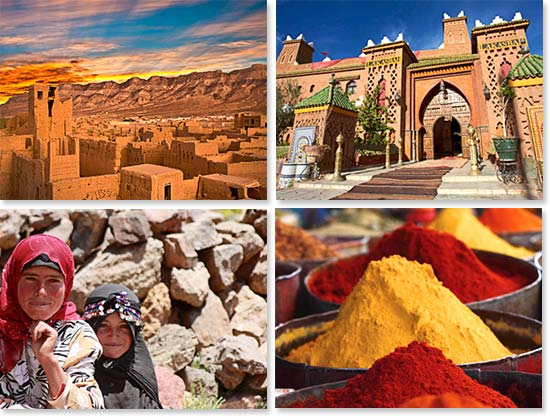 Upper left: A beautiful scene in a clay city of Morocco; Lower left: We meet many friendly local faces on our journey; Upper right: An enchanting riad in Marrakesh; Lower right: Morocco's cities are known for their vibrant colors
