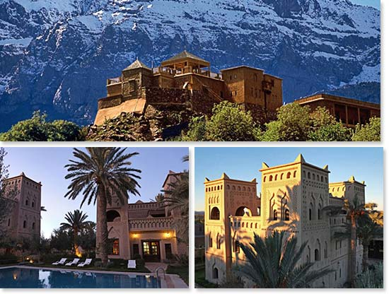 Top: Our Kasbah in Toubkal National Park; Bottom: A lovely Kasbah on our way to the mountains