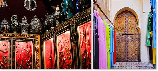 Left: Beautiful Moroccan items for sale; Right: The markets are full of color