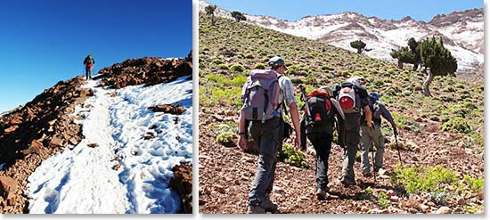 Left: Expect both snowy and rocky conditions; Right: Hiking on the trails to Mount Toubkal