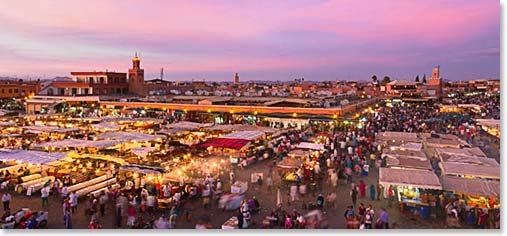 The beautiful city of Marrakesh at night