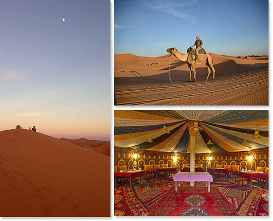 Left: Watching the magical sunset over the dunes of Erg Chebbi; Upper right: Riding a camel through the Sahara desert; Lower right: Our Moroccan style dining room in our tented camps