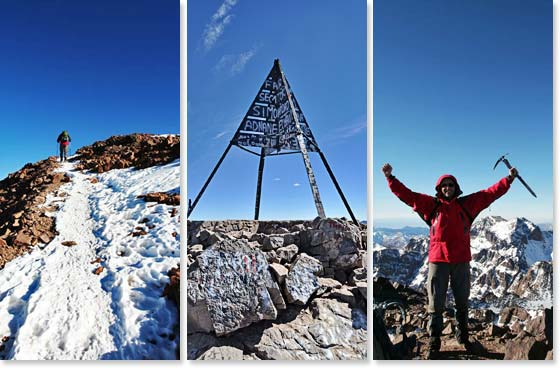 Left: Climbing to the summit of Mount Toubkal; Middle: Reaching the summit; Left: Summit Success at 13, 671ft/4,166m