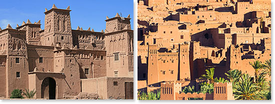 Left: Beautiful Moroccan architecture; Right: Ancient villages