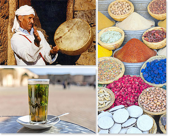 Top left: People of Morocco; Bottom left: Refreshing mint tea; Right: Colors of Morocco