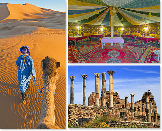 Left: Dessert extension options are available; Top right: Tents in the dessert; Bottom right: Fez has plenty of beautiful tour options