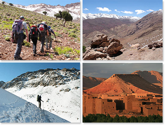 Top left: Hiking in the Atlas Mountains; Top right: Beautiful views along the trails; Bottom left: Climbing Mount Toubkal; Bottom right: Fortresses along the way