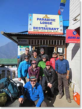 In front of our lodge in Namche