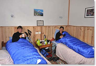 Relaxing in our cozy beds in Namche