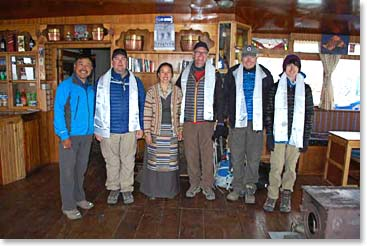 Climbers with BAI lead guide Ang Temba and his wife Yangzing in their beautiful, welcoming lodge