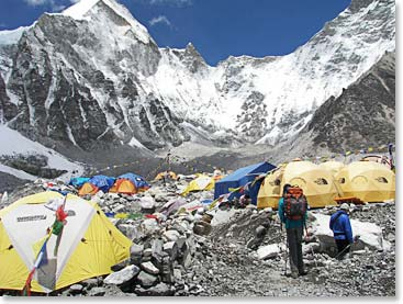 Arriving at Everest Base Camp for a visit
