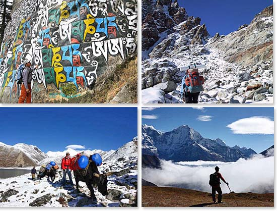 Top left: Trekking to Base Camp; Top right: Climbing the Passes; Bottom left: Yak trains carrying gear to Gokyo; Bottom right: Reflecting on the beautiful surroundings