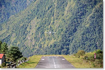 Flying into Lukla; the gateway to our adventure