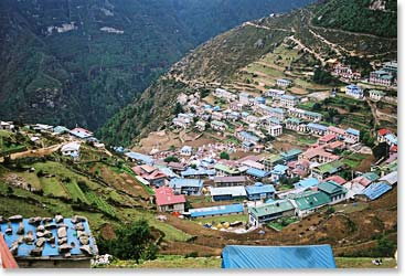 Arriving in the colorful village of Namche