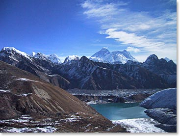 Looking onto Everest from Gokyo Ri